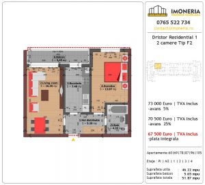 Apartamente de vanzare Dristor Residential 1 -2 camere tip F2