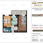 Apartamente de vanzare Siena Residence 3-Corp 4-sc1-2 camere tip B1