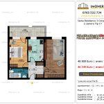 Apartamente de vanzare Siena Residence 3-Corp 4-sc1-2 camere tip C1