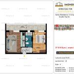 Apartamente de vanzare Siena Residence 3-Corp 4-sc2- Studio tip D2