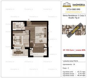 Apartamente de vanzare Siena Residence 3-Corp 2-Studio tip A'